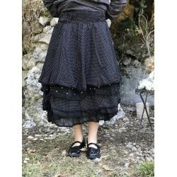 jupe / jupon MADELEINE coton noir à petits pois blancs et organza uni noir