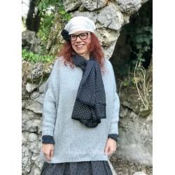 foulard PAULINE coton noir à petits pois blancs
