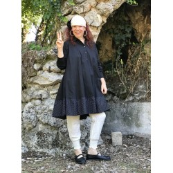 robe trapèze ELSA popeline uni noir et noir à petits pois blancs
