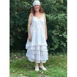 robe LEA coton blanc cassé à pois noir