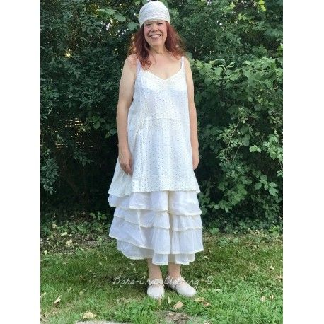 dress LEA off-white with black dots cotton