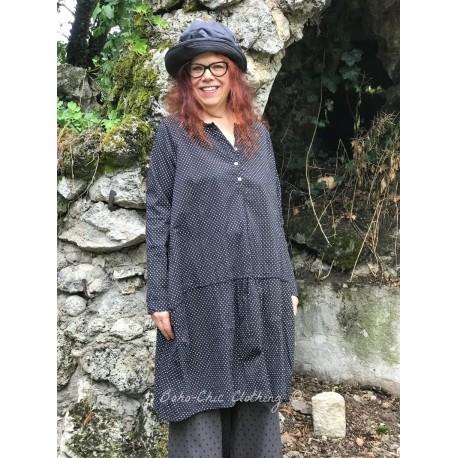 robe tunique MARGUERITE popeline noir à petits pois blancs