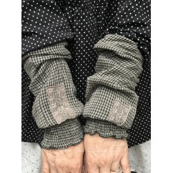 cuffs BLANDINE gray gingham cotton