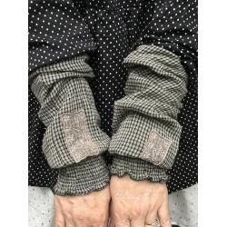 manchettes BLANDINE coton vichy gris