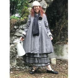 coat SIMON gray linen lined with floral cotton