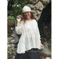 tunique TANIA coton blanc cassé à pois noir