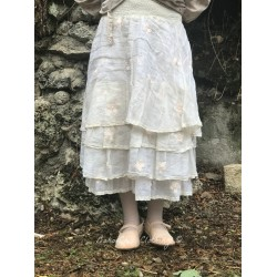 skirt / petticoat MADELEINE ecru organza with hand embroidered pink flowers