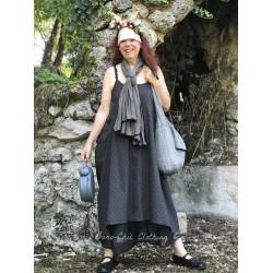 robe longue HENRIETTE popeline gris à gros pois noirs