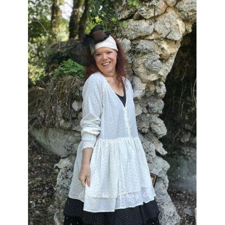 tunique ANNA coton blanc cassé à pois noir