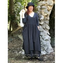 robe longue HENRIETTE popeline uni noir