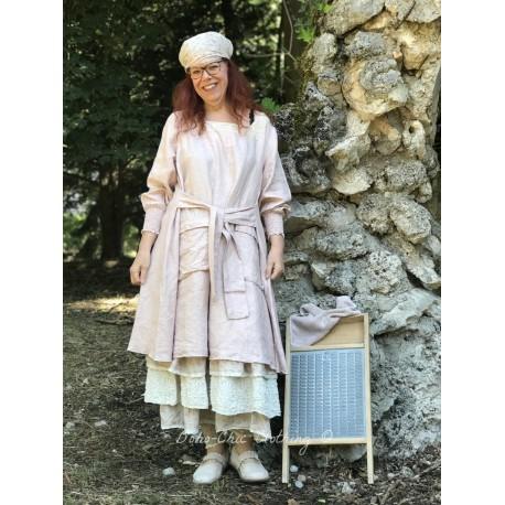 long dress CLARA old pink linen