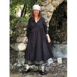 robe portefeuille POHERE popeline uni noir