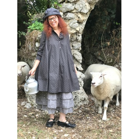 robe trapèze ELSA popeline gris à gros pois noirs