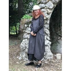 long dress HENRIETTE gray with big black dots poplin