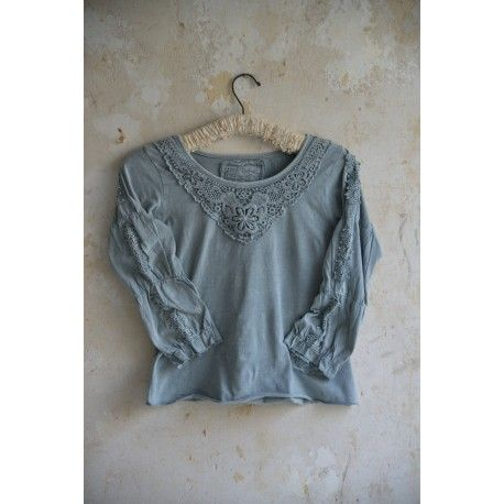 blouse Charming truth in Light petrol cotton