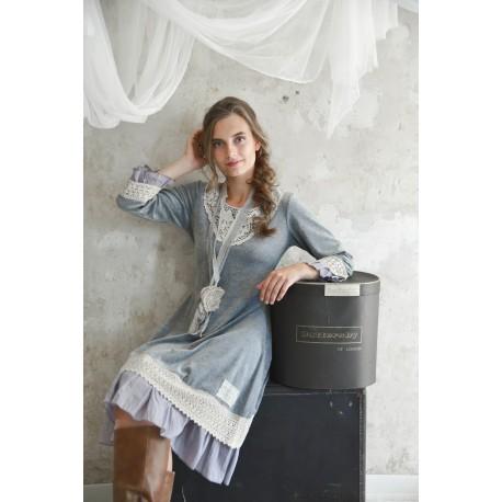 robe Delicate past en velours gris clair