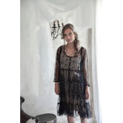 robe Delicate romance en tulle brodé noir