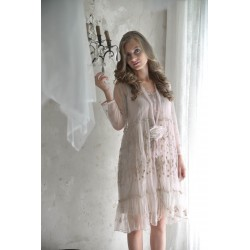 robe Delicate romance en tulle brodé rose