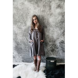 dress Natural romantic in Warm grey linen
