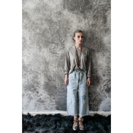T-shirt Casual moments en coton gris taupe