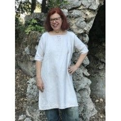 Vintage dress in thick linen with monogram A.M  - 1