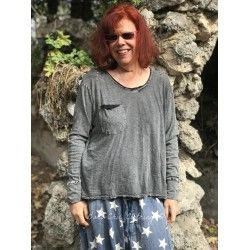 T-shirt Sofiane long sleeves in Basalt