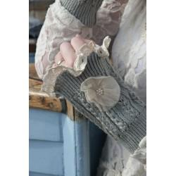 mitaines courtes en coton gris clair