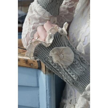 wrist warmer short version in Grey cotton