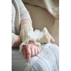 wrist warmer short version in Cream cotton