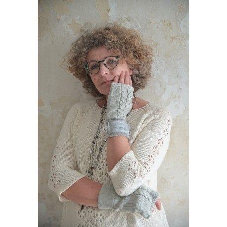 mitaines longues en coton gris clair