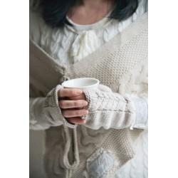 mitaines longues en coton beige