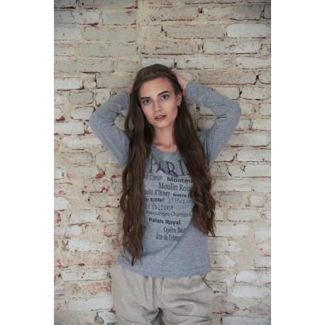 T-shirt Paris en coton gris clair imprimé