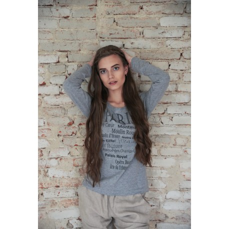 T-shirt Paris in Light Grey cotton