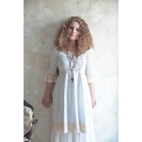 dress Delightful spirit in Cream Black & Grey cotton