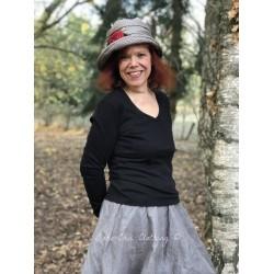 hat PENELOPE in black & cream houndstooth