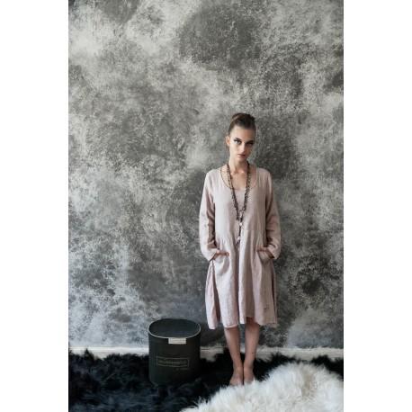 robe Natural romantic en lin rose
