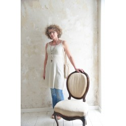 Simple strap dress Joyful moods in Cream cotton