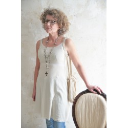 Spaghetti strap dress Joyful moods in Cream cotton