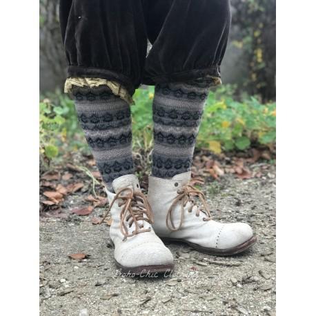 chaussettes fair isle knee high en laine et cachemire beige