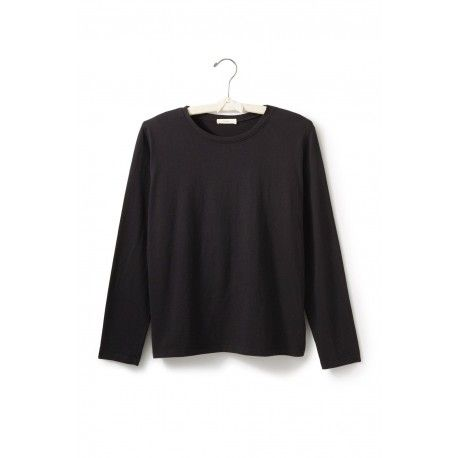 T-shirt long sleeve round neck boxy fit in black cotton