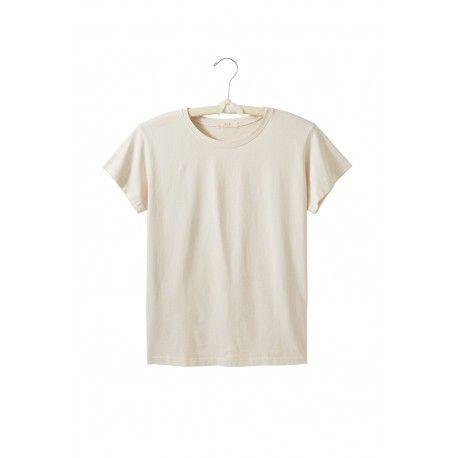 T-shirt manches courtes col rond en jersey de coton crème