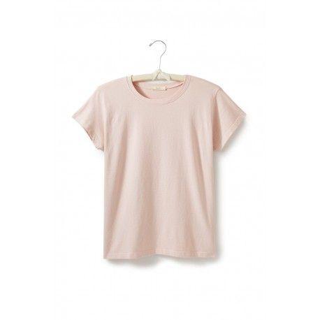 T-shirt manches courtes col rond en jersey de coton rose