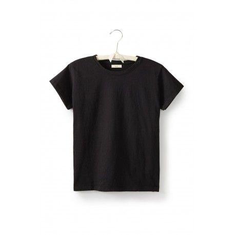 T-shirt short sleeve round neck in black cotton