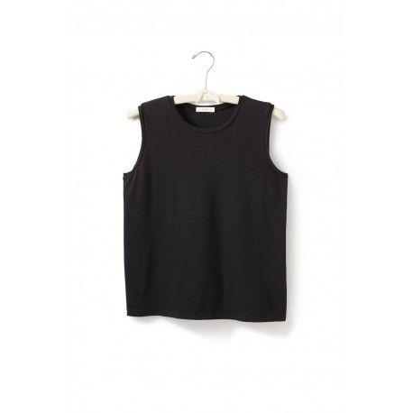 T-shirt sans manches col rond en jersey de coton noir