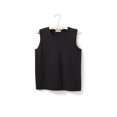 T-shirt without sleeves in black cotton