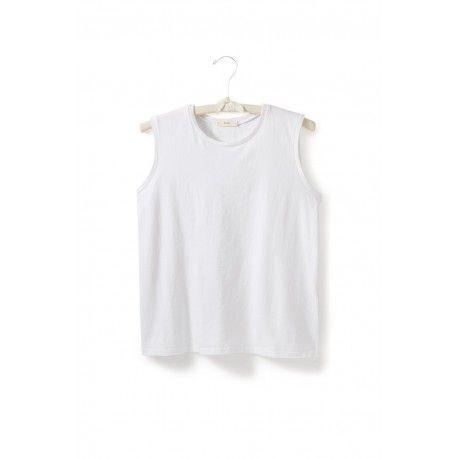 T-shirt sans manches col rond en jersey de coton blanc