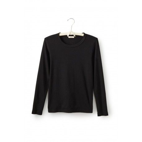 T-shirt long sleeve round neck in black cotton