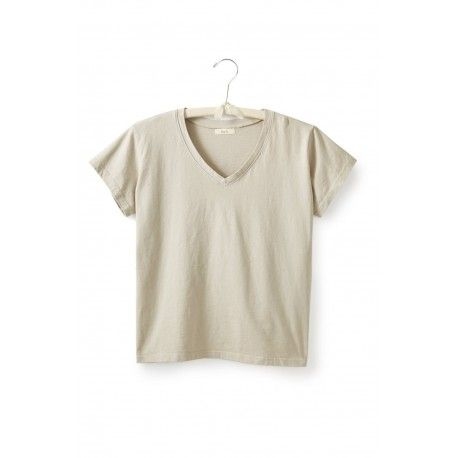 T-shirt short sleeve V-neck in flax cotton