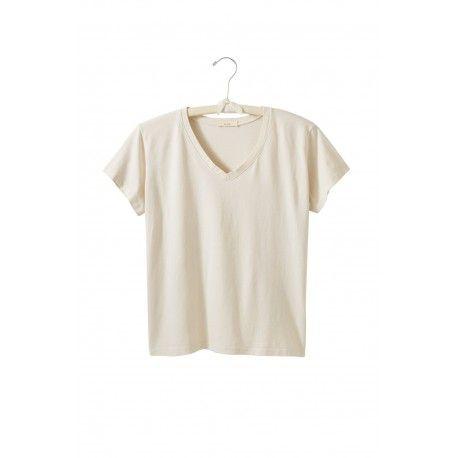 T-shirt manches courtes col V en jersey de coton crème