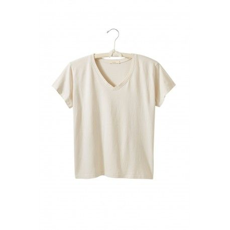 T-shirt short sleeve V-neck in natural cotton